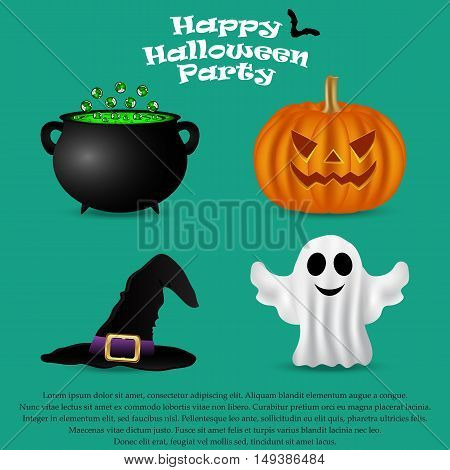 Set for Halloween party. pumpkin, witch hat, a ghost and a pot of potion, vector illustration
