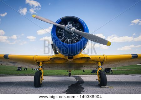 Frontal view of engine and propeller of old vintage airplane