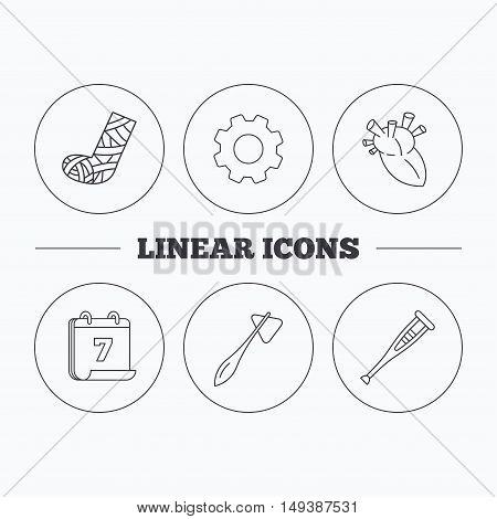 Gypsum, heart and medical hammer icons. Crutch linear sign. Flat cogwheel and calendar symbols. Linear icons in circle buttons. Vector