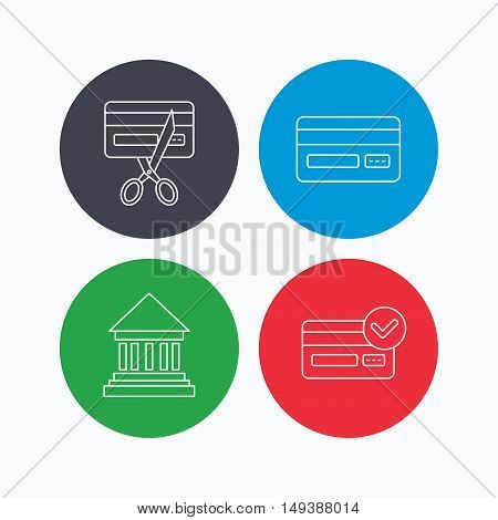 Bank credit card, approved card icons. Expired credit card linear sign. Linear icons on colored buttons. Flat web symbols. Vector