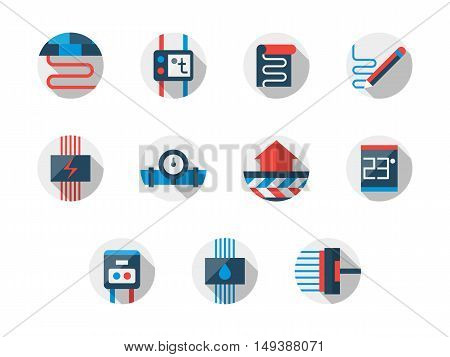 Underfloor heating system. Water, electrical and radiant heated floor. Home improvement and flooring services. Set of flat color modern design vector icons.