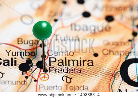 Pradera pinned on a map of Colombia