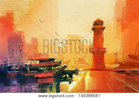 lighthouse and fishing boat at sunset, oil painting style