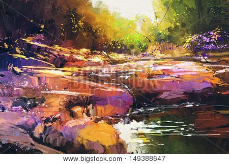 beautiful fall river lines with colorful stones in autumn forest, landscape painting