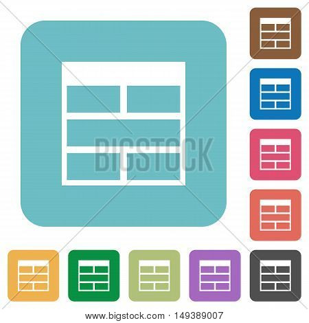 Flat Spreadsheet horizontally merge table cells icons on rounded square color backgrounds.
