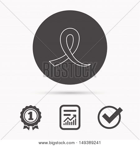 Awareness ribbon icon. Oncology sign. Report document, winner award and tick. Round circle button with icon. Vector