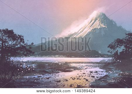 winter landscape with mountain lake under evening sky, digital painting