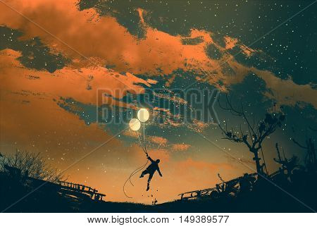 man flying with balloon lights at sunset, illustration painting