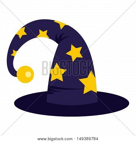 Wizard hat icon in flat style isolated on white background. Tricks symbol vector illustration