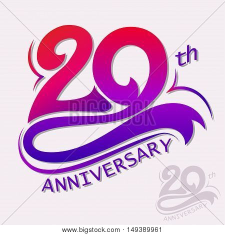 20th Years Anniversary Design, Template celebration sign. Vector