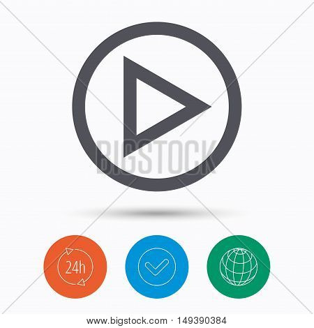 Play icon. Audio or Video player symbol. Check tick, 24 hours service and internet globe. Linear icons on white background. Vector