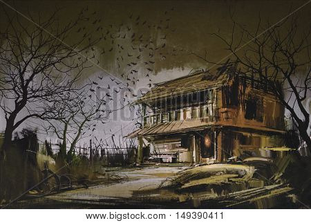 painting of old wooden abandoned house, halloween background
