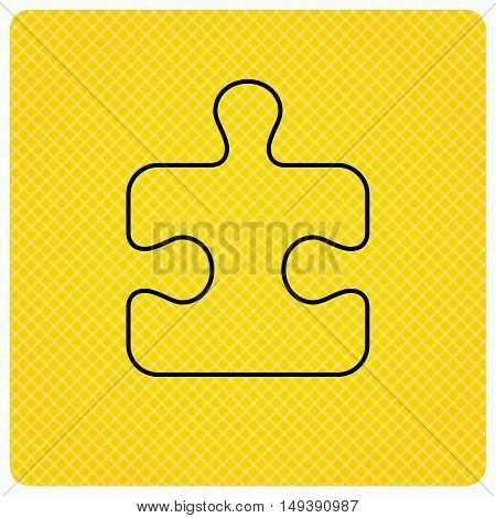 Puzzle icon. Jigsaw logical game sign. Boardgame piece symbol. Linear icon on orange background. Vector