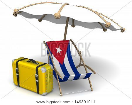 Holidays in Cuba. Concept. Empty sunbed with a flag of Cuba yellow suitcase and an umbrella on a white surface. Isolated. 3D Illustration