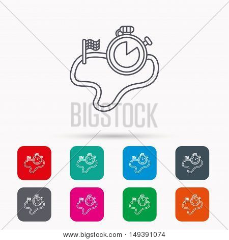 Race road icon. Finishing flag with timer sign. Linear icons in squares on white background. Flat web symbols. Vector