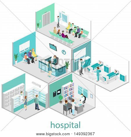 Isometric Flat Interior Of Hospital Room, Pharmacy, Doctor's Office, Waiting Room, Reception. Doctor