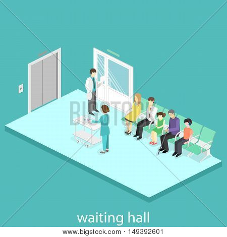Waiting Room At The Hospital. Visitors Sit On The Chairs In The Corridor. Patient Waits To Receive A