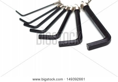 Allen keys in different sizes isolated on white
