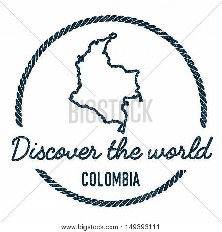Colombia Map Outline. Vintage Discover The World Rubber Stamp With Colombia Map. Hipster Style Nauti