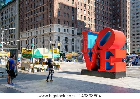 NEW YORK,USA - AUGUST 20,2016: The famous Love sign on 6th avenue in midtown New York City