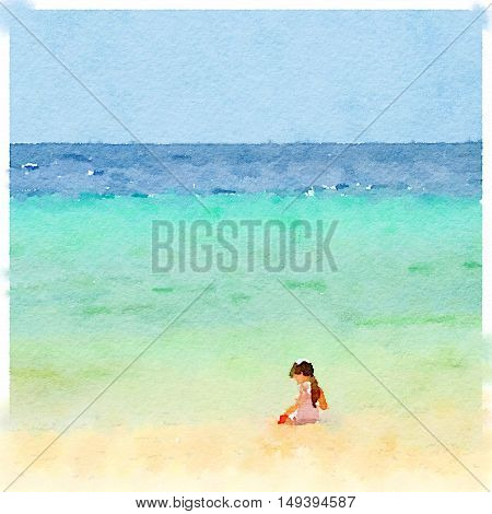 Digital watercolor painting of a young girl on the beach playing in the sand. Space for text.