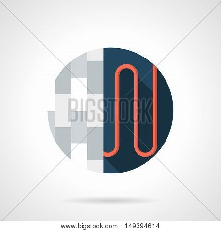 Floor heating model. Red pipe or wire under a flooring level - tile, parquet, linoleum or others. Construction, repair and home improvement. Round color flat design vector icon.