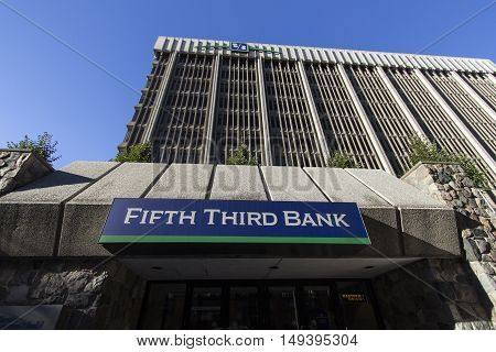 Grand Rapids, Michigan, USA - September 17, 2016: Entrance to the Fifth Third Bank building located in downtown Grand Rapids, Michigan. Fifth Third is headquartered in Cincinnati, Ohio