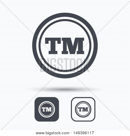 Registered TM trademark icon. Intellectual work protection symbol. Square buttons with flat web icon on white background. Vector