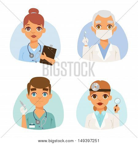 Group of doctors and nurses and medical staff people. Medical team doctors specialists concept in flat design people characters. Doctors specialist uniform surgeon practitioner female vector.