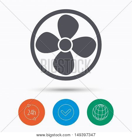 Ventilation icon. Air ventilator or fan symbol. Check tick, 24 hours service and internet globe. Linear icons on white background. Vector