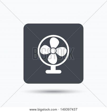 Ventilator icon. Air ventilation or fan symbol. Gray square button with flat web icon. Vector