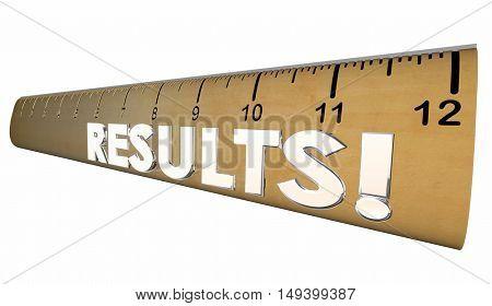 Results Ruler Measure Output Word 3d Illustration