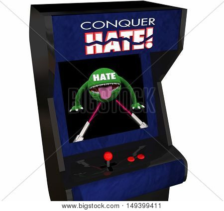Conquer Hate Beat Defeat Hatred Love Peace Video Game 3d Illustration