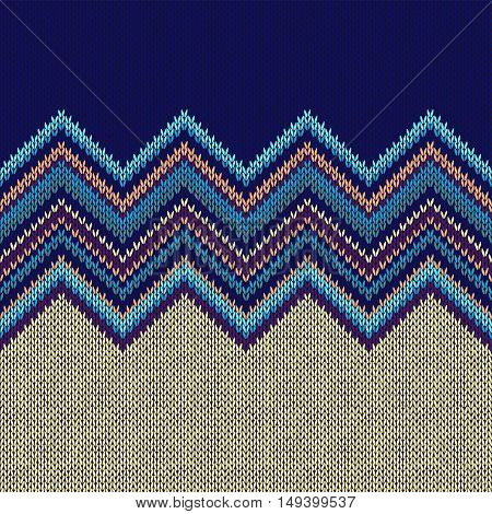 Seamless Ethnic Geometric Knitted Pattern. Violet Yellow Blue Horizontal Seamless Background