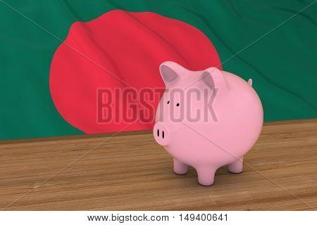 Bangladesh Finance Concept - Piggybank In Front Of Bangladeshi Flag 3D Illustration