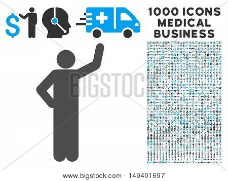 Assurance Pose icon with 1000 medical business gray and blue vector pictographs. Set style is flat bicolor symbols, white background.