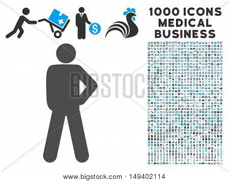 Audacity Pose icon with 1000 medical commerce gray and blue vector pictographs. Set style is flat bicolor symbols, white background.