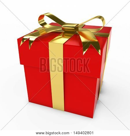 Red And Gold Christmas Present Gift Box 3D Illustration