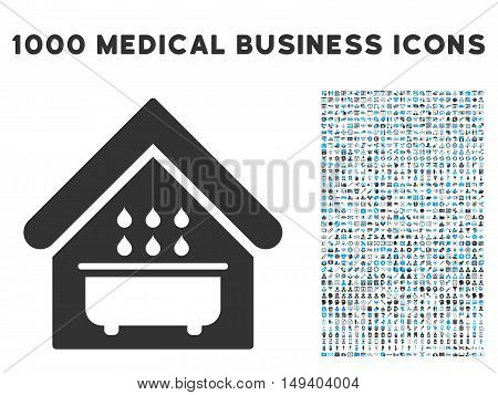 Bathroom icon with 1000 medical commerce gray and blue vector design elements. Collection style is flat bicolor symbols, white background.