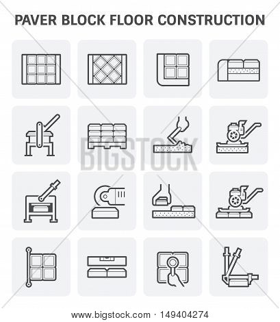 Paver block floor construction vector icon set design.