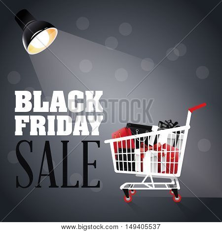 Illuminated lamp shopping cart and gifts icon. Black Friday sale and offer theme. Grey background. Vector illustration