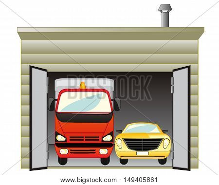The Open garage with two cars inside. Vector illustration