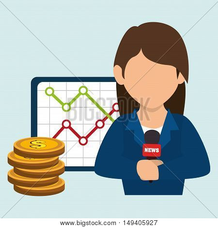woman rating news money vector illustration eps 10