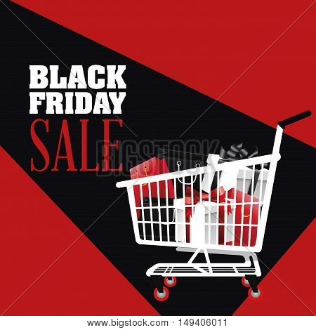 Gifts inside shopping cart icon. Black Friday sale and offer theme. Black and red background. Vector illustration