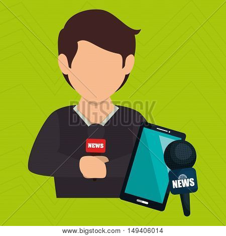 man news smartphone reportage vector illustration eps 10