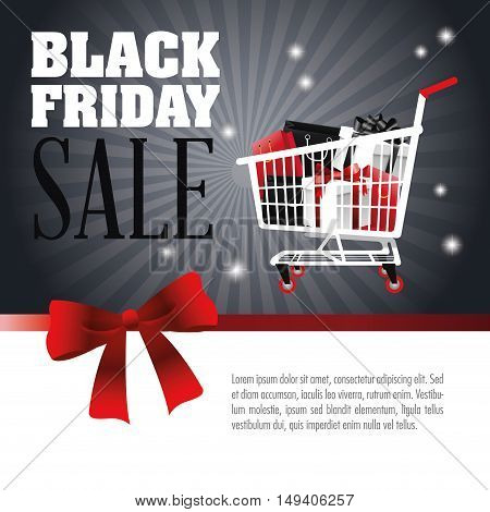 Gifts inside shopping cart icon. Black Friday sale and offer theme. Grey background. Vector illustration