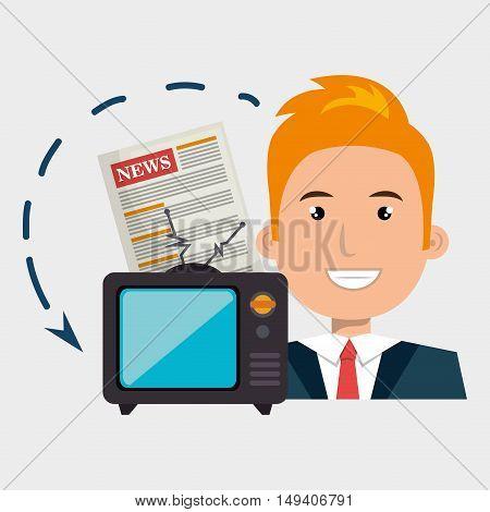 man tv reportage news vector illustration eps 10