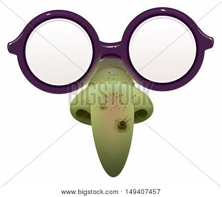 Witch mask for masquerade. Glasses and green nose with wart. Isolated on white vector illustration