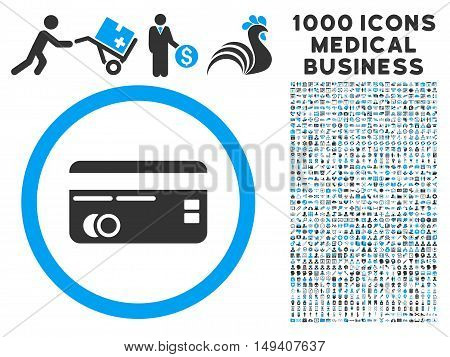 Credit Card icon with 1000 medical commerce gray and blue vector pictographs. Design style is flat bicolor symbols, white background.