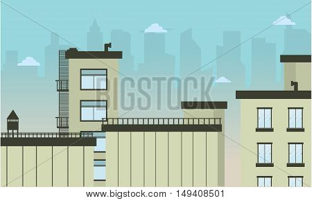 Illustration of city flat landscape collection stock